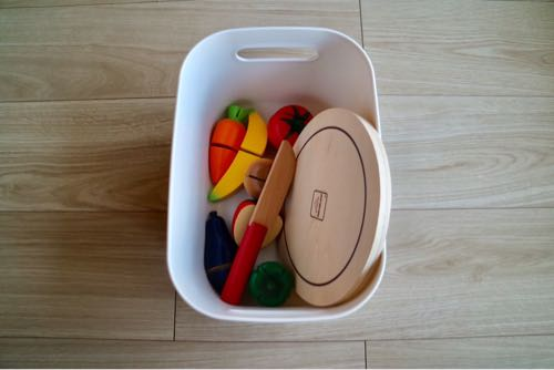 無印良品・スタッキングシェルフの収納例|おもちゃ